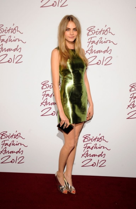 Cara Delevingne StyleChi Green Silver Metallic Shift Dress Peep Toe Heels British Fashion Awards 2012