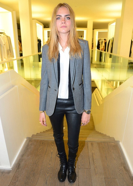 Cara Delevingne StyleChi Grey Blazer White Shirt Leather Trousers Buckled Strappy Lace Up Boots