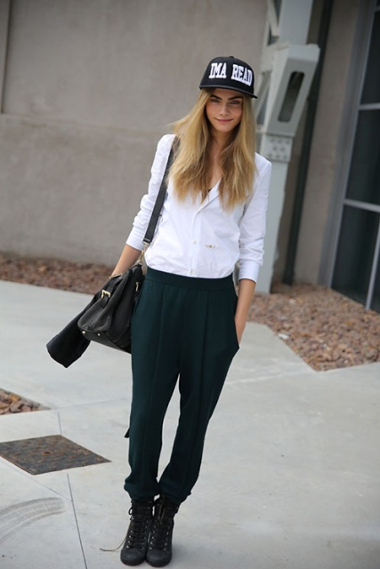 Cara Delevingne StyleChi IMA READ Black White Cap White Shirt Green Trousers Black Trainers Street Style Androgynous Masculine Style