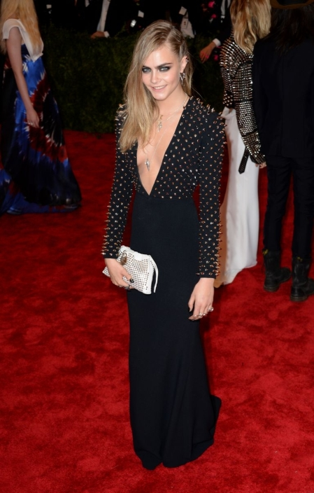 Cara Delevingne StyleChi Met Ball 2013 Punk Studded Deep V-Neck Plunge Black Dress