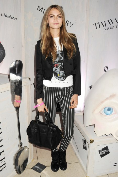 Cara Delevingne StyleChi Mulberry Style Black White Striped Skinny Trousers Skull Print T-Shirt Black Blazer Trainers Bowler Bag