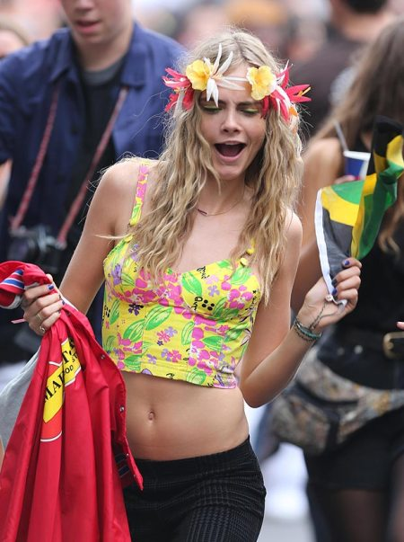 Cara Delevingne StyleChi Partying Cropped Yellow Floral Corset Top Houndstooth Trousers Flower Headband