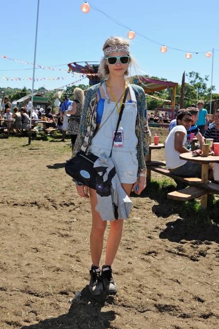 Cara Delevingne StyleChi Short Overalls Dungarees Light Blue Sunglasses Headband Cobalt Blue Cropped Top Trainers  Festival Style
