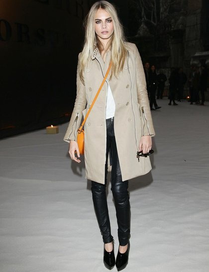 Cara Delevingne StyleChi Trench Coat Leather Trousers Orange Satchel Back Black Patent Pointed Toe Shoe Boots