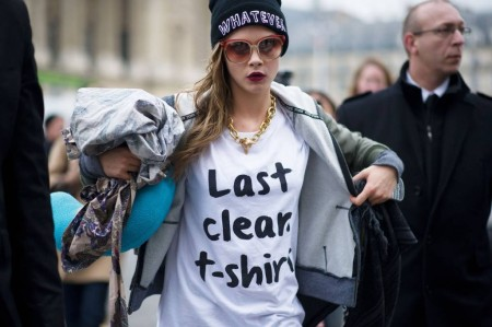 Cara Delevingne StyleChi White Last Clean T-Shirt Whatever Black Beanie Hat Retro Sunglasses Hoodie Dark Lip