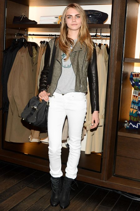 Cara Delevingne StyleChi White Skinny Jeans Lace Up Black Boots Grey Jacket Black Leather Sleeves Shoulder Bag