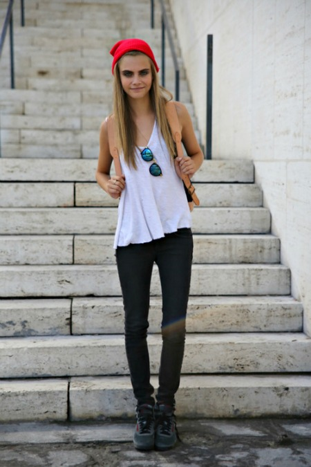 Cara Delevingne StyleChi White Tank Top Indigo Jean Nike Trainers Petrol Sunglasses Red Beanies