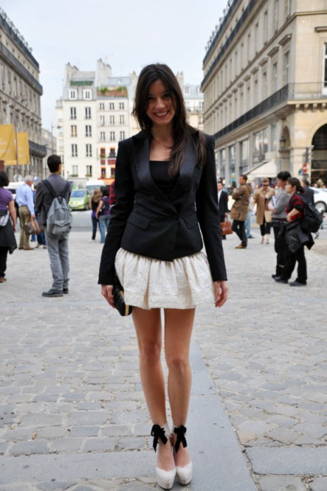 Daisy Lowe StyleChi 2010 Spring Summer Paris Fashion Week Black Blazer Top Cream Puff Out Skirt Platform Heels Ankle Ribbon