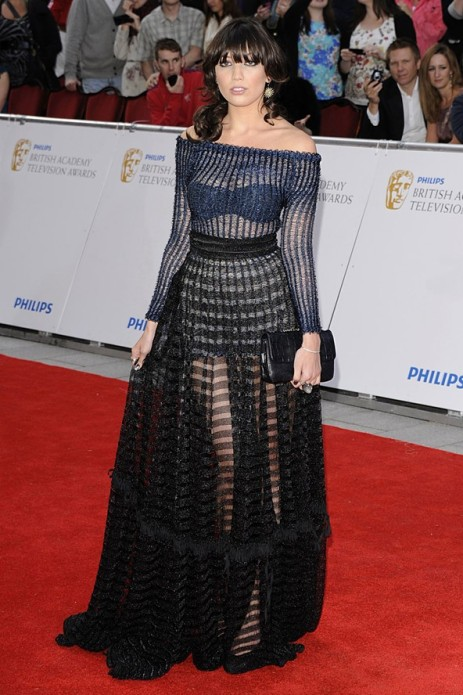 Daisy Lowe StyleChi 2011 Blue Sheer Textured Ribbed Off The Shoulder Long Sleeve Top Black High Waisted Maxi Skirt Red Carpet Outfit British Academy Awards