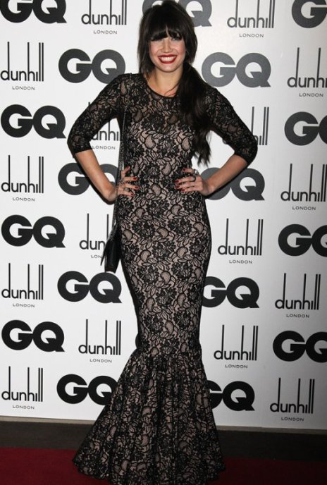 Daisy Lowe StyleChi 2011 GQ Awards Long Sleeved Black Nude Lace Overlay Gown Frill Detail Chain Bag Side Ponytail Red Lip