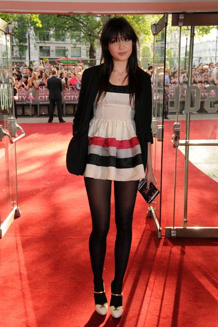 Daisy Lowe StyleChi Black Blazer Short Mini Dress Cream Striped Pink Grey Black White Gold Strap Open Heels