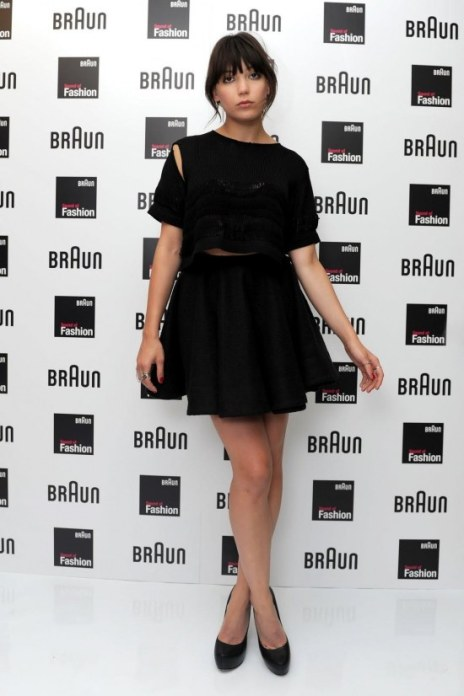 Daisy Lowe StyleChi Black Outfit Crop Top Cut Out Shoulder High Waist Skater Skirt Court Shoes