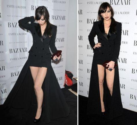 Daisy Lowe StyleChi Black Suit Jacket Dress Long Trail Burgundy Clutch Bag Dark Lip
