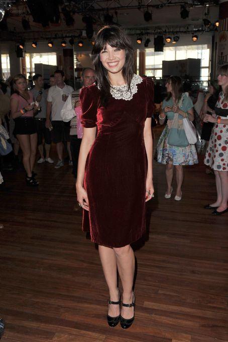 Daisy Lowe StyleChi Burgundy Velvet Below Knee Short Sleeve Dress White Lace Crochet Collar Black Mary Jane Heels