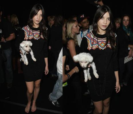 Daisy Lowe StyleChi Carrying Dog Barefoot Black Jumper Dress Pattern Beaded Necklace