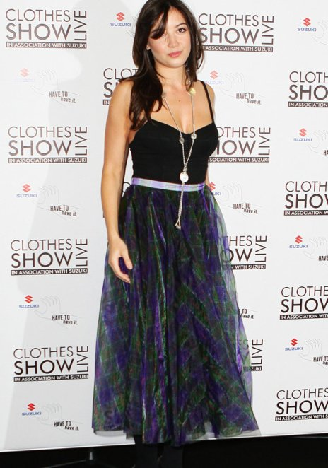 Daisy Lowe StyleChi Clothes Show Live 2012 Black Tank Top High Waist Purple Blue Green Sheer Layered Floaty Skirt