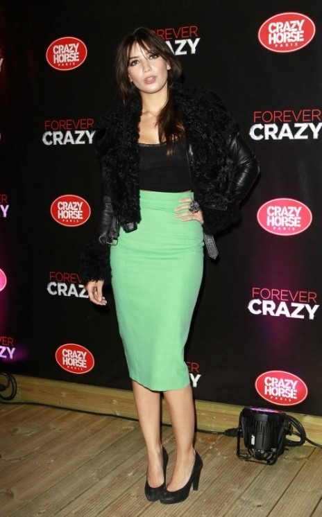 Daisy Lowe StyleChi Crazy Horse Premiere London Fur Leather Jacket Black Tank Top Green High Waist Pencil Skirt Heels