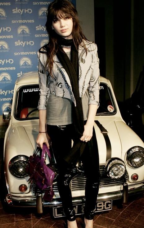 Daisy Lowe StyleChi Cropped Grey Jacket Black Trousers Purple Bag