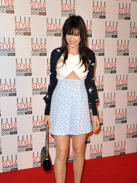 Daisy Lowe StyleChi Elle Style Awards 2010 Navy Printed Cardigan White Cross Front Crop Top Light Blue High Waist Swallow Print Skirt Chain Bag