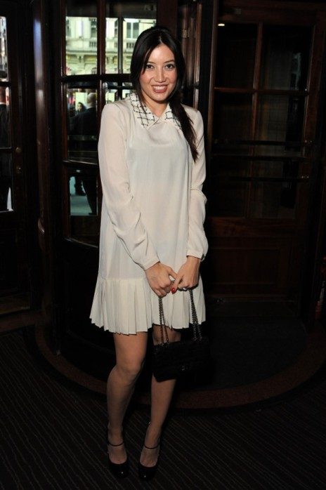Daisy Lowe StyleChi Gatsby Style Cream Drop Waist Long Sleeve Dress Embellished Shirt Collar Chain Bag Heeled Mary Janes