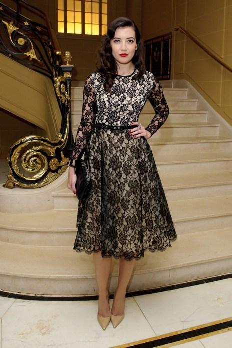 Daisy Lowe StyleChi Glamorous Nude Dress Black Lace Overlay Long Sleeves Belted Pointed Toe Heels Red Lips