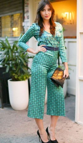 Daisy Lowe StyleChi Green Graphic Print Patterned Outfit Wide Fit Cropped Trousers