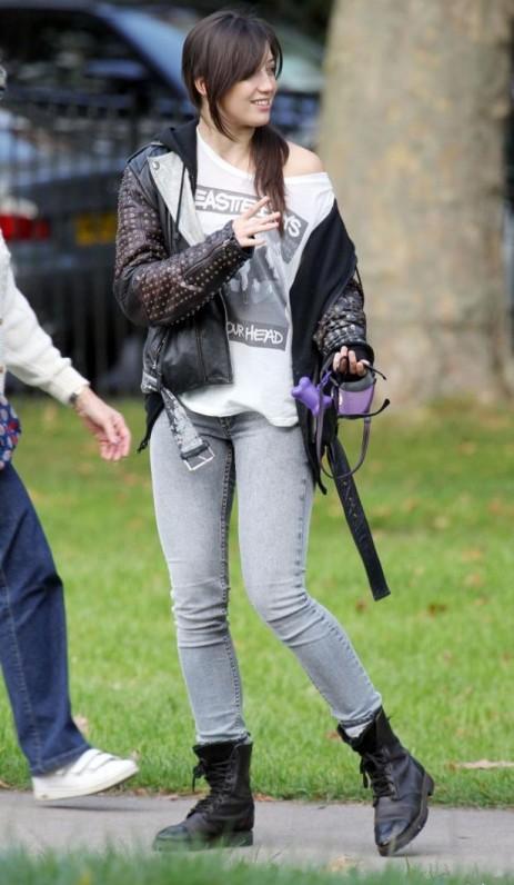 Daisy Lowe StyleChi Grunge Rock Leather Jacket Lace Up Boots Biker Beastie Boys T-shirt Skinny Jeans