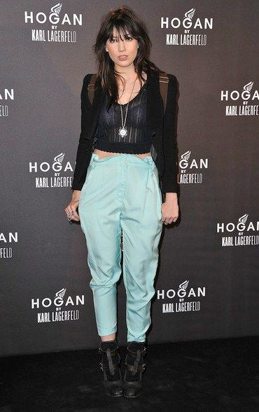 Daisy Lowe StyleChi Light Blue High Waist Trousers Black Heeled Sandals Socks Sheer Lace Crop Top Blazer Back Pack