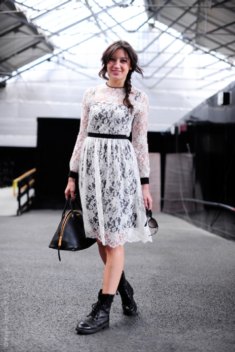 Daisy Lowe StyleChi Long Sleeve Below Knee White Lace Overlay Dress Contrast Trims Slip Lace Up Boots