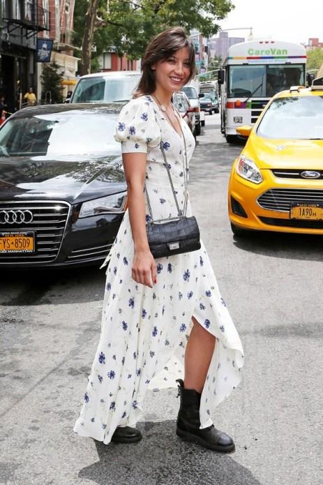 Daisy Lowe StyleChi Split Maxi Floral White Blue Dress