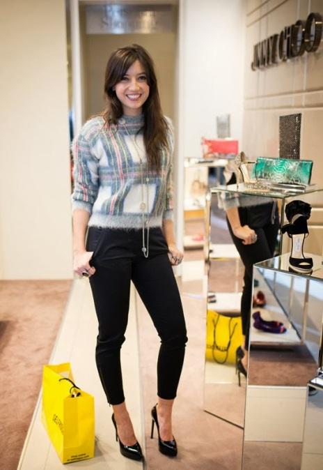Daisy Lowe StyleChi Tartan Sweater Black Cropped Trousers Pointed Toe Heels