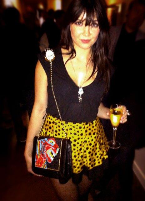 Daisy Lowe StyleChi Tiger Satchel Yellow Polka Black Dot Skirt V-Neck T-Shirt