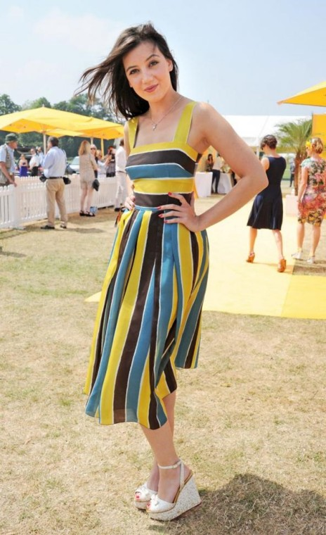 Daisy Lowe StyleChi Veuve Cliquot Event Striped Yellow Blue Black White Sundress Below Knee Espadrille Wedges