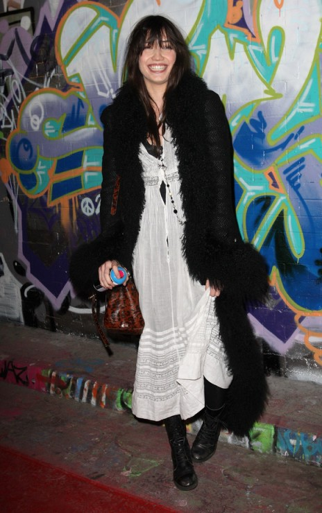 Daisy Lowe StyleChi White Boho Buttoned Up Maxi Dress Long Black Coat Fur Trim Black Lace-Up Boots Animal Print Bucket Bag