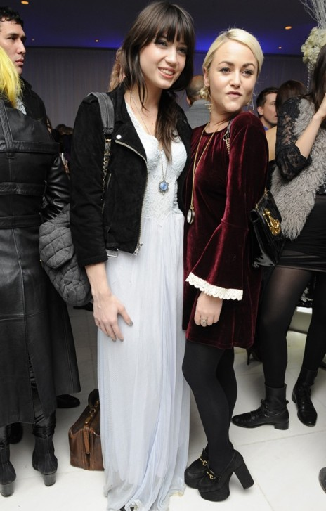 Daisy Lowe StyleChi White Maxi Dress Black Suede Jacket Grey Jersey Quilted Bag Side Ponytail Chain Necklace