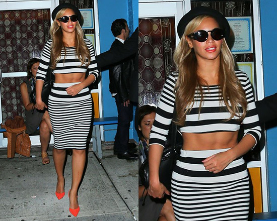 beyonce-Topshop-Varigated-Long-Sleeve-Crop-Top-stripe-tube-skirt