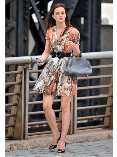 Blair Waldorf Leighton Meester Season 4 StyleChi Floral Belted Shirt Dress Peep Toes Grey Handbag