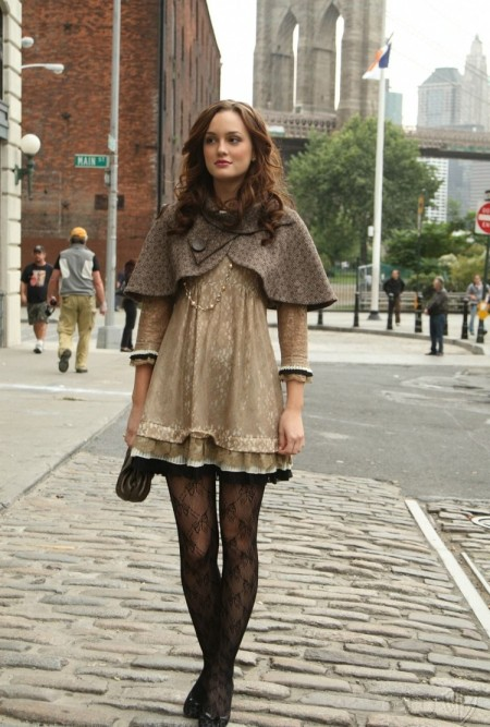 Blair Waldorf Leighton Meester StyleChi Mini Taupe Cape Beige Retro Dress Lace Pattern Tights Ballerina Shoes