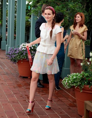 Blair Waldorf Leighton Meester StyleChi White Outfit Pleated Floral Skirt