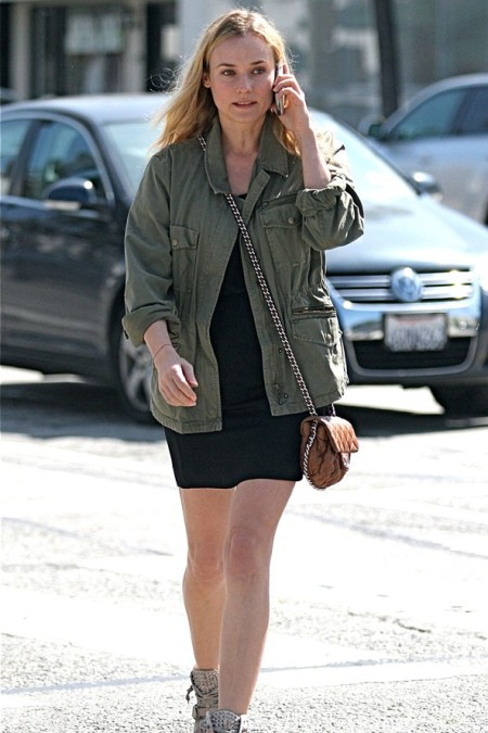 Diane Kruger StyleChi 2011 Khaki Army Jacket Black Dress Brown Quilted Chain Bag Casual