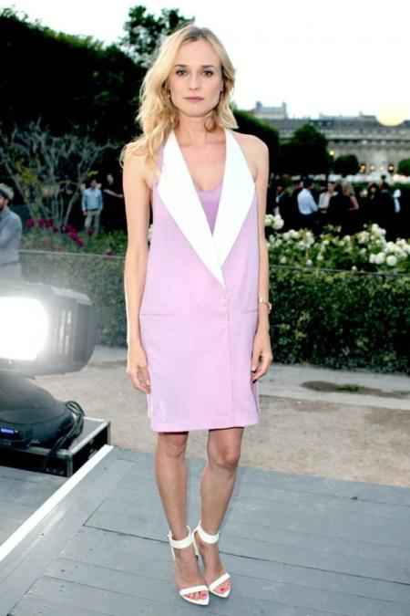 Diane Kruger StyleChi 2013 Pink White Sleeveless Suit Dress Barely There Heels