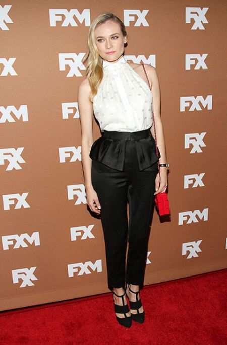 Diane Kruger StyleChi 2013 Red Carpet Sleeveless Halter Neck White Shirt Black Peplum Style Suit Trousers Black Cut Out Heels Red Chain Strap Bag