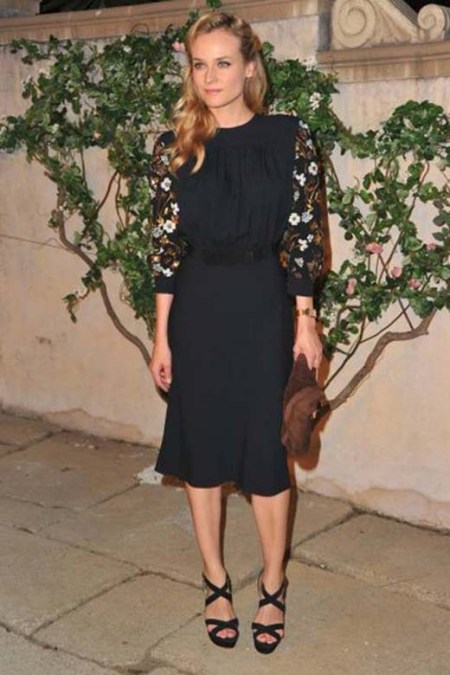 Diane Kruger StyleChi 40s Inspired Dress Three Quarter Floral Sleeve Midi Length Navy Cross Front Strappy Heels