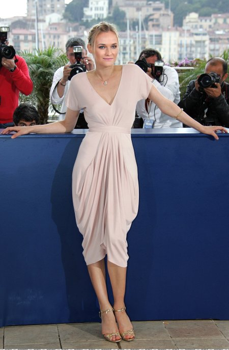 Diane Kruger StyleChi Baby Pink Short Sleeve Ruched V-Neck Cinched Waist Dress