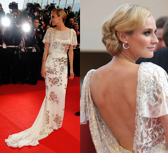 Diane Kruger StyleChi Backless Gown Short Sleeves Floral Silver Embellished Pattern Backless Gown Red Carpet