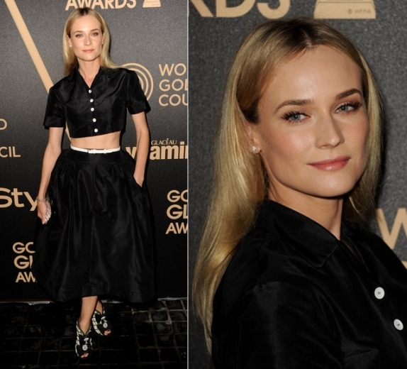 Diane Kruger StyleChi Black Crop Top Puff Ball Midi Skirt White Buttons Belt Golden Globe Awards