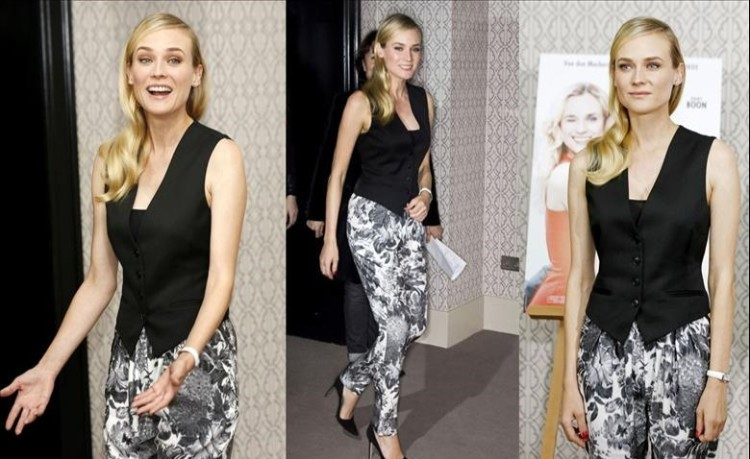 Diane Kruger StyleChi Black Stella MacCartney Twill Vest Waistcoat Black White Floral Tapered Trousers Pointed Heels