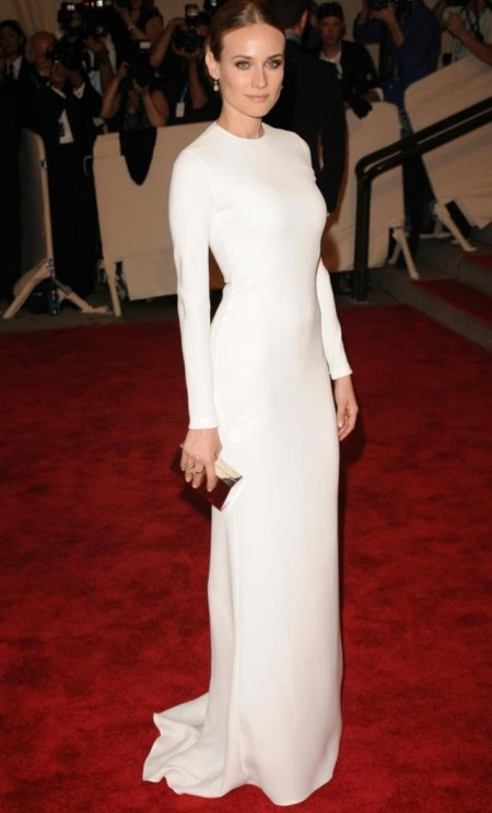 Diane Kruger StyleChi Calvin Klein White Long Sleeve Gown Updo Pendant Earrings Red Carpet