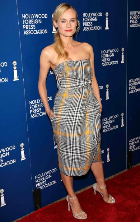 Diane Kruger StyleChi Carven August 2013 Tartan Check Dress Black White Yellow Barely There Grey Heels
