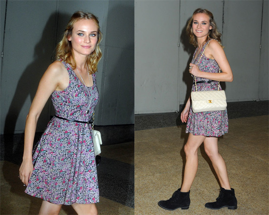 Diane Kruger StyleChi Casual Outfit Summer Sleeveless Mauve Floral Skater Dress Black Belt Black Suede Lace Up Ankle Boots Short Hair White QuiltedLeather Gold Chain Chanel Bag